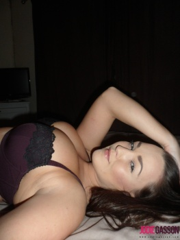 selfshot158 Sexy Black And Purple Lingerie