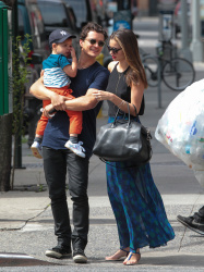 Miranda Kerr and Orlando Bloom out with their son Flynn in New York City July