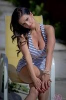 Дениз Милани, фото 5210. Denise Milani Striped Dress :, foto 5210
