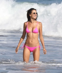 Alessandra Ambrosio - Pink Bikini at the beach in Malibu 8/6/17