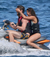Nina Dobrev and Asustin Stowell enjoy the ocean off the cost the French Riviera (July 26) LlAwEuam