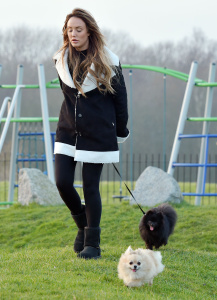 Charlotte Crosby - Walking Her Dog in a Park in Sunderland - February 28th 2017