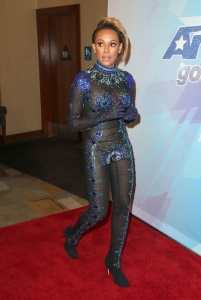 Melanie Brown - Sans Undies In A Catsuit At America's Got Talent Premiere (7/15/17)