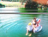 Katelyn Pippy - bikini on inflatable eagle in pool IG pics x2