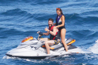 Nina Dobrev and Asustin Stowell enjoy the ocean off the cost the French Riviera (July 26) ND0WG4Ds