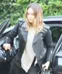 Jessica Alba in leather jacket and maxi dress in Beverly Hills January 18-2016 x8