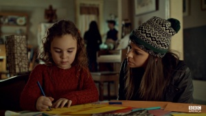 Skyler Wexler and Tatiana Maslany in Canadian science fiction television series Orphan Black