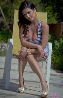 Дениз Милани, фото 5214. Denise Milani Striped Dress :, foto 5214