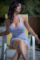 Дениз Милани, фото 5200. Denise Milani Striped Dress :, foto 5200