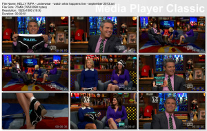 KELLY RIPA underwear boxers - Watch What Happens Live - September 2013