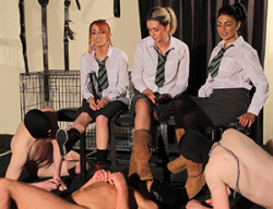 Young dommes - Three Naked Slaves