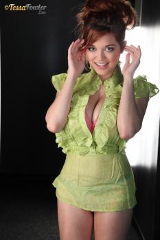 Tessa Fowler - Green Top Pink Bra - Set 1