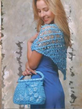 Вязание крючком.  Элегантная сумочка-торба с отделкой жемчугом.