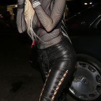 Kylie Jenner in a Sheer Top at Kendalls 21 birthday on Nov 2