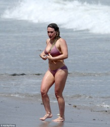 Hilary Duff Wearing a Pink Bikini at a Beach in Malibu - 7/9/17