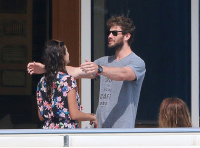 Nina Dobrev and Asustin Stowell enjoy the ocean off the cost the French Riviera (July 26) 78MX0pbq