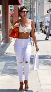 Nicole Murphy - Shows-off Killer Body In Tight White Out In LA (7/18/17)