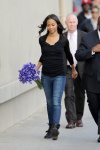 Zoe Saldana  Arriving at 'Jimmy Kimmel Live' in West Hollywood 5/8/13