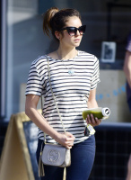 Nina Dobrev heads to a medical building chatting on her cell (June 03) CAk4jt7O