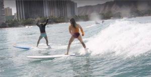 Danica McKellar Surfing in Hawaii - 2015