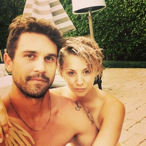 Kaley Cuoco and Her Husband By The Pool - 6/26/15