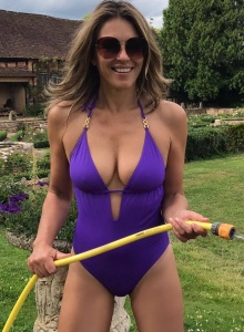 Elizabeth Hurley - Purple Swimsuit Instragram (7/9/17)