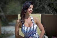 Дениз Милани, фото 5212. Denise Milani Striped Dress :, foto 5212