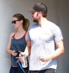 Emily Blunt with husband John Krasinski hit the gym for a workout August 19-2015 x12