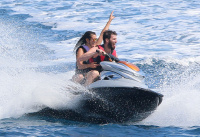 Nina Dobrev and Asustin Stowell enjoy the ocean off the cost the French Riviera (July 26) LPBoTwry