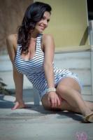 Дениз Милани, фото 5218. Denise Milani Striped Dress :, foto 5218