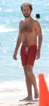 Thomas Bangalter red short shorts Miami beach
