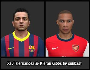 Download PES 2014 Xavi Hernandez & Kieran Gibbs Face by sunbast