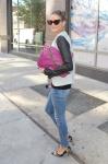 olivia palermo leather sleeve alexander wang jacket pink bag.