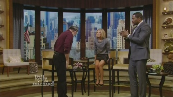 Kelly Ripa - 2-19-14 - legs in tiny leather mini-skirt (by request)