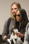 Zoe Saldana and Marco Perego wait in line at LAX for a flight out of Los Angeles November 19-2015 x45
