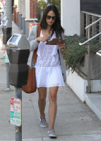 Jordana Brewster - In a white dress shopping in Los Angeles 6/24/16