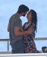 Nina Dobrev and Asustin Stowell enjoy the ocean off the cost the French Riviera (July 26) IdULw40x