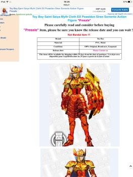 TOY BOY Saint Seiya Myth Cloth EX siren