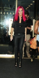 Jenny McCarthy - Showing off new pink hair in NYC 7/14/15