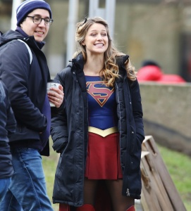 Melissa Benoist - On The Set of Supergirl in Vancouver - February 24th 2017