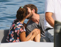 Nina Dobrev and Asustin Stowell enjoy the ocean off the cost the French Riviera (July 26) 8YwX4FMB