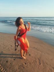 Patty Lopez de la Cerda Sexy body rojo guardines Baywatch En Acapulco