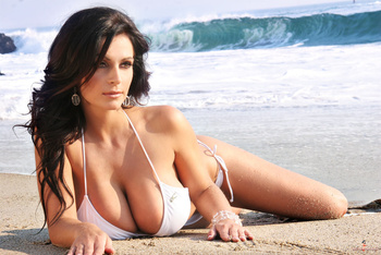 Дениз Милани, фото 4456. Denise Milani White Bikini (From Her Old Website), foto 4456