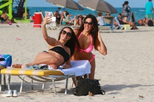 c9d5f25f4 Elisa Scheffler and Claudia Romani - At The Beach In Miami Beach - February  7th