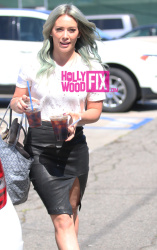 Hilary Duff Wearing a Leather Skirt in L.A. - 4/6/15