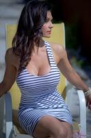 Дениз Милани, фото 5197. Denise Milani Striped Dress :, foto 5197