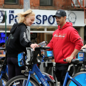Sophie Turner - Out riding Citibikes in Soho - May 7, 2017