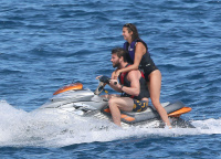 Nina Dobrev and Asustin Stowell enjoy the ocean off the cost the French Riviera (July 26) CsFwTHul