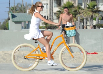 AnnaLynne McCord on a bike in Santa Monica, June 23