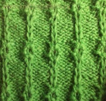 Узоры со снятыми петлями.  Снятые петли с ажурными кольцами.  Узоры для вязания на спицах.